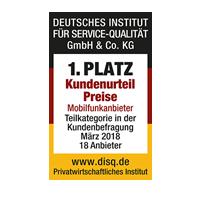 disq - 1. Platz Kundenurteil Preise 2018