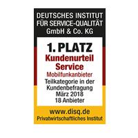 disq - 1. Platz Kundenurteil Service 2018
