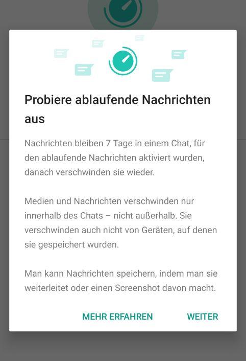 WhatsApp-Nachrichten nach sieben Tagen automatisch verschwinden lassen