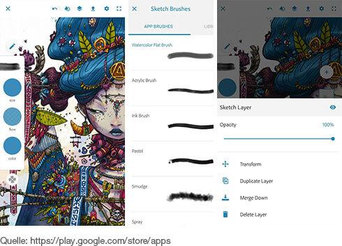 professionelle Skizzen- und Mal-Tools für iOS und Android