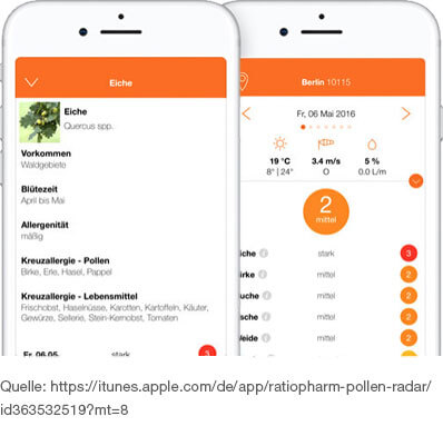 standortgenaue Pollenvorhersage App mit Allergie-Tipps