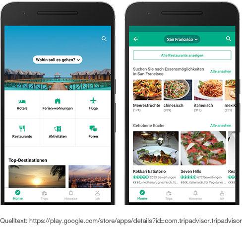 TripAdvisor - Datenbank mit mehreren Millionen Restaurants und Lokalen